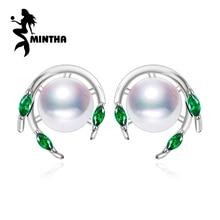 MINTHA Smaragd Perle Ohrringe, grüne Edelstein Ohrringe, Hochzeit Ohrringe für Frauen 2018 neue, 925 Sterling Silber Ohrstecker