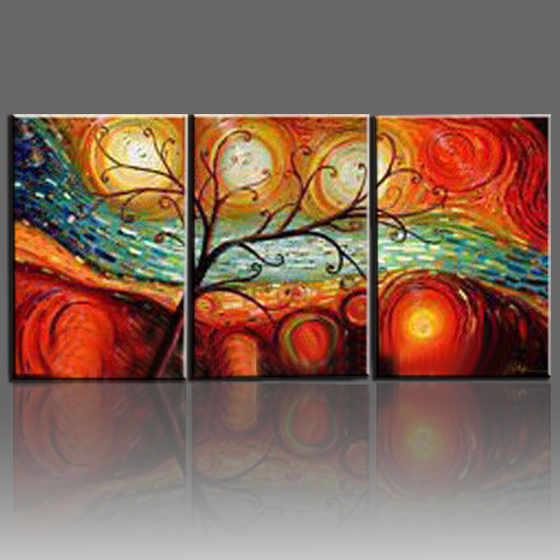 Tree Landscape Oil Paintings Hand Painted On Canvas 3 Piece Modern Abstract  Wall Art Dining Room Decoration Sets