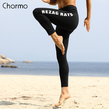 Charmo Women Yoga Pants Letter Print Sports Outdoor Running Gym Fitness Elastic Trousers Breathable Legging
