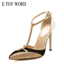 E TOY WORD New Women High Heels Shoes Women Pointed Toe Ankle T-tied  Thin Heels Pumps Party shoes Sandals women shoes white black t tied women summer shoes elegant covered women shoes high heels peep toe shoes ankle tied thin heel shoes for women
