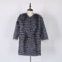 Winter female fur coat pure fox fur long suede coat silver fox fur car coat