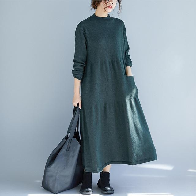 Johnature 2019Autumn Winter New Turtleneck Women Dresses Loose Casual Long Sleeve Patchwork Pockets A-Line Sweater Dresses