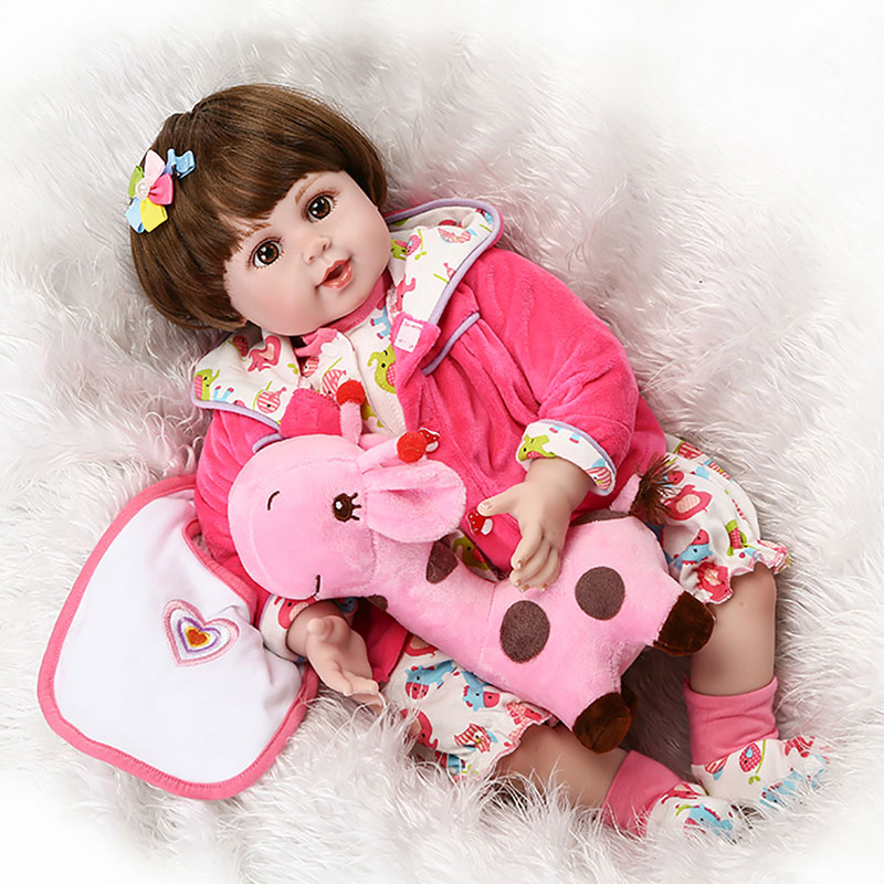 Baby Girls Dolls 20 Lifelike Soft Silicone Reborn Baby Dolls Handmade Vinyl Toddler Doll Kids Toys with Rose Red Plush Coat 2017 smart home crystal glass panel wall switch wireless remote light switch us 1 gang wall light touch switch with controller
