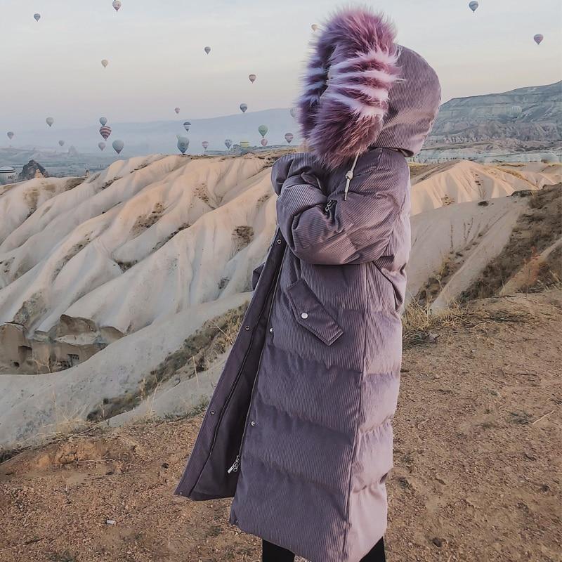 Femmes New Coton Du De D'hiver Longue Genou Vêtements Manteau 2 Épais Veste Section Col Velours Fourrure dessus 1 fxA1Fnw0n