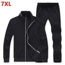 Большой размер спортивной тонкий добавить удобрений увеличился мужской костюм свитер Для Мужчин's Большие размеры Наборы мужские 8XL мужчин Штаны и куртка
