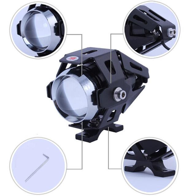 2 pcs 125 w faróis motocicleta u5 lâmpada auxiliar levou super brilhante motocicleta holofotes 3000lm moto car fog head light drl 2015