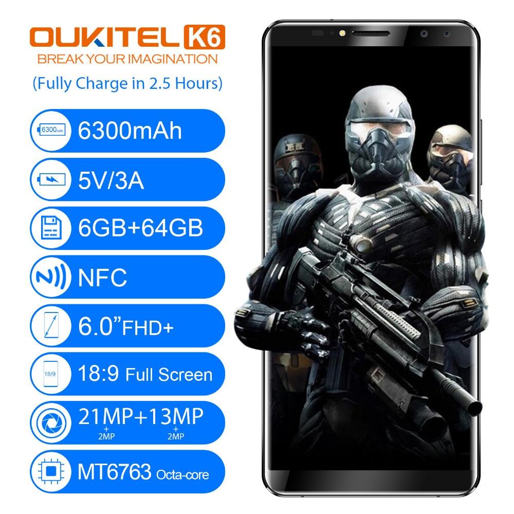 Oukitel K6 6 0 18 9 Face ID Smartphone MT6763 Octa Core 6GB RAM 64GB ROM