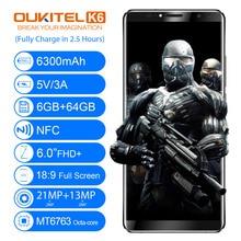 "Oukitel K6 6.0 ""18:9 Face Unlock Smartphone MT6763 Octa Core 6 GB RAM 64 GB ROM 6300 mAh 4G D'empreintes Digitales ID 21MP + 13MP Mobile téléphone"