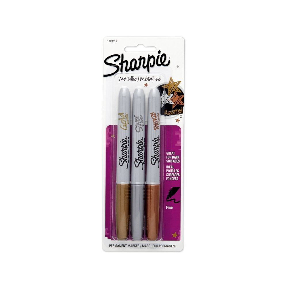 3pcs Sharpie Opaque Fine Point Metallic Permanent Markers Writes On Light And Dark Surfaces Silver/Gold/Bronze Paper Metal Glass