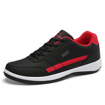 2020 New Fashion Men Sneakers for Men Casual Shoes Breathable Lace up Mens Casual Shoes Spring Leather Shoes Men chaussure homme - Black, 9.5
