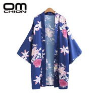 OMCHION 2017 Womens Tops And Blouses Casual Loose Floral Printed Kimono Cardigan Fashion V Neck Long