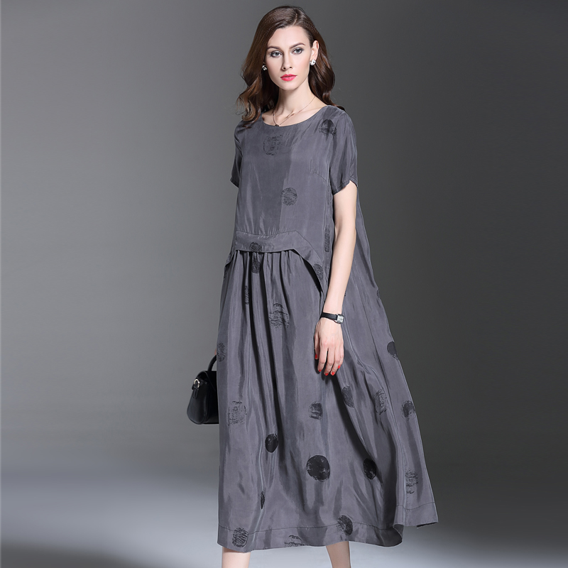 2016 summer new fashion women clothing dots printing short sleeves dress high quality loose large size