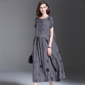 5474ac96bc 2016 verano nueva moda mujer ropa dots impresión manga corta vestido de  alta calidad suelta de