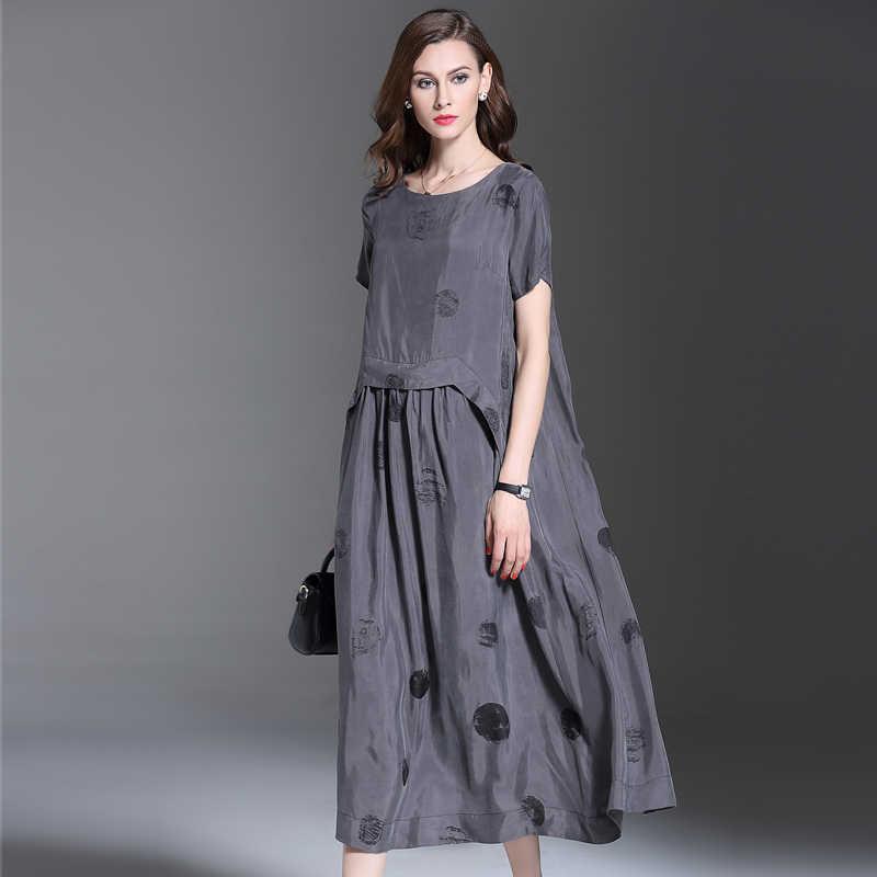 bc621a57f0a 2016 летняя новая модная женская одежда в горошек с короткими рукавами  платье высокого качества свободные большие