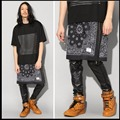 HOT New dj pants Cashew flowers Trendy Men's Culottes Apron fashion Hip-Hop  skirt singer stage nightclub costumes