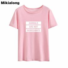 Mikialong Basic Vegan T shirt Women 2018 Summer Tee Shirt Femme Harajuku Tshirt Women Cotton Women's T shirts Casual T-shirts(China)