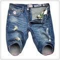 Рваные джинсы мужские шорты высокое качество бренда дизайнер плюс размер 38 джинсы шорты мода хип-хоп стиль джинсы шорты homme 8321