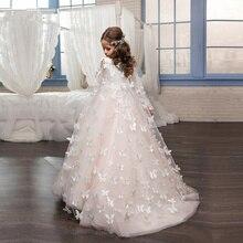 Розовые Платья с цветочным узором и бабочками для девочек; вечернее платье; платья для первого причастия для девочек; нарядные платья
