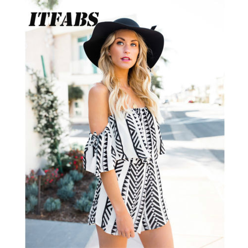 c8508457bf 2018 New Fashion Hot Sexy Charming Women Holiday Mini Playsuit Jumpsuit Rompers  Summer Off Shoulder Beach Casual Shorts-in Rompers from Women's Clothing on  ...
