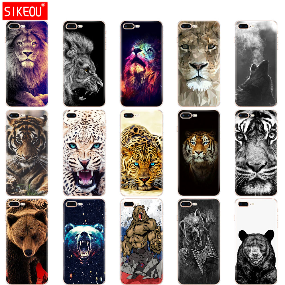 Silicone phone Case For IPhone 7 Case IPhone7 Case for apple IPhone 7 Plus Cases For IPhone 7plus wolf tiger lion Leopard bear iPhone