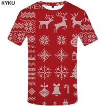 KYKU Christmas T shirt Men Xmas Shirt Print Vintage Tshirts Casual Elk Tshirt Printed Red Anime Clothes Short Sleeve Punk Rock
