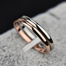 2 MM Thin Stainless Steel Three color Couple Ring Simple Fashion Rose Gold Finger Ring For Women jewelry(China)