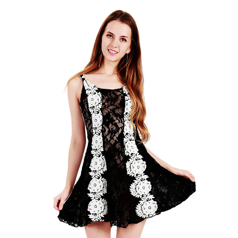 Plus Size Elegant Lace Mini Dress Lovely Sleeveless Lace Embroidery Hollow  Out Lolita Fancy Dress Online Shopping India for sale in Pakistan 9d23e1bfc