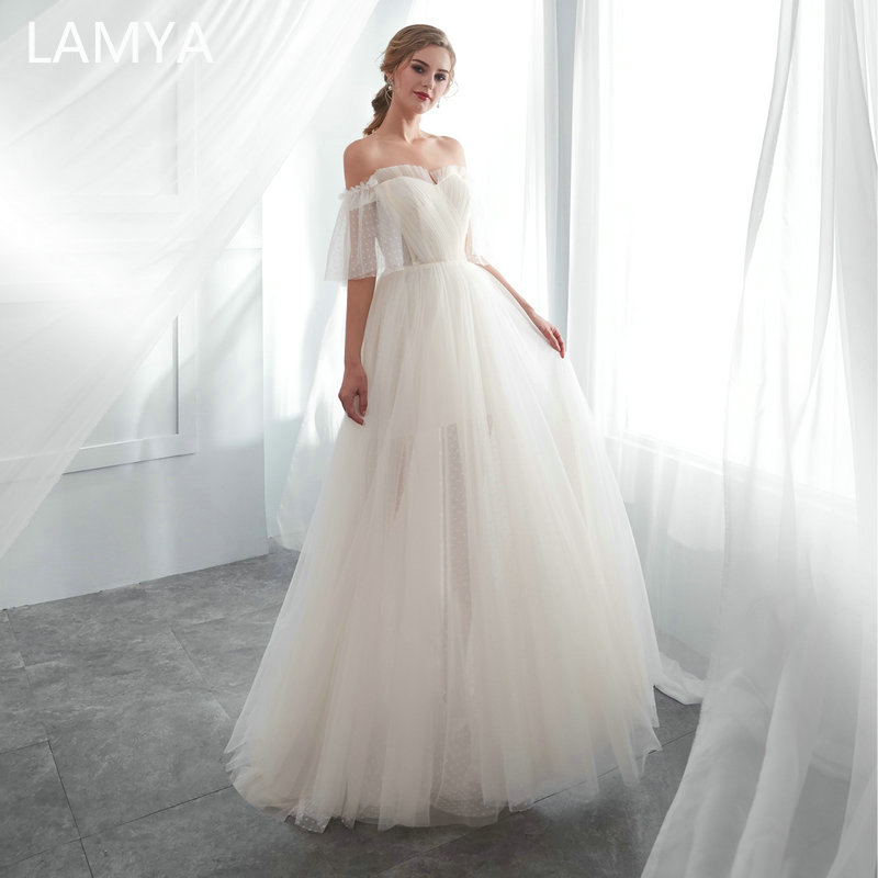 LAMYA Fashionable Chiffon Simple Wedding Dress Sweetheart Bridal Gowns Plus Size A Line Wedding Dresses Vestido De Noiva in Wedding Dresses from Weddings Events
