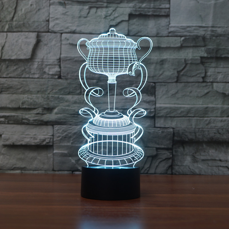3D LED Night Light Trophy Cup 7 color changing Touch Mood Lamp Decor Light For Bar Birthday Gift in LED Night Lights from Lights Lighting