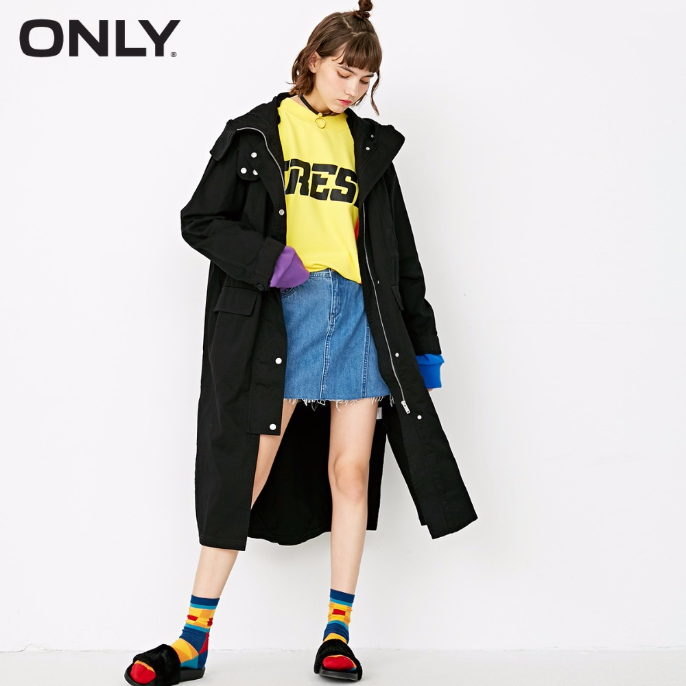 ONLY 100% cotton split long hooded wind coat trench coat women windbreaker| 117336539