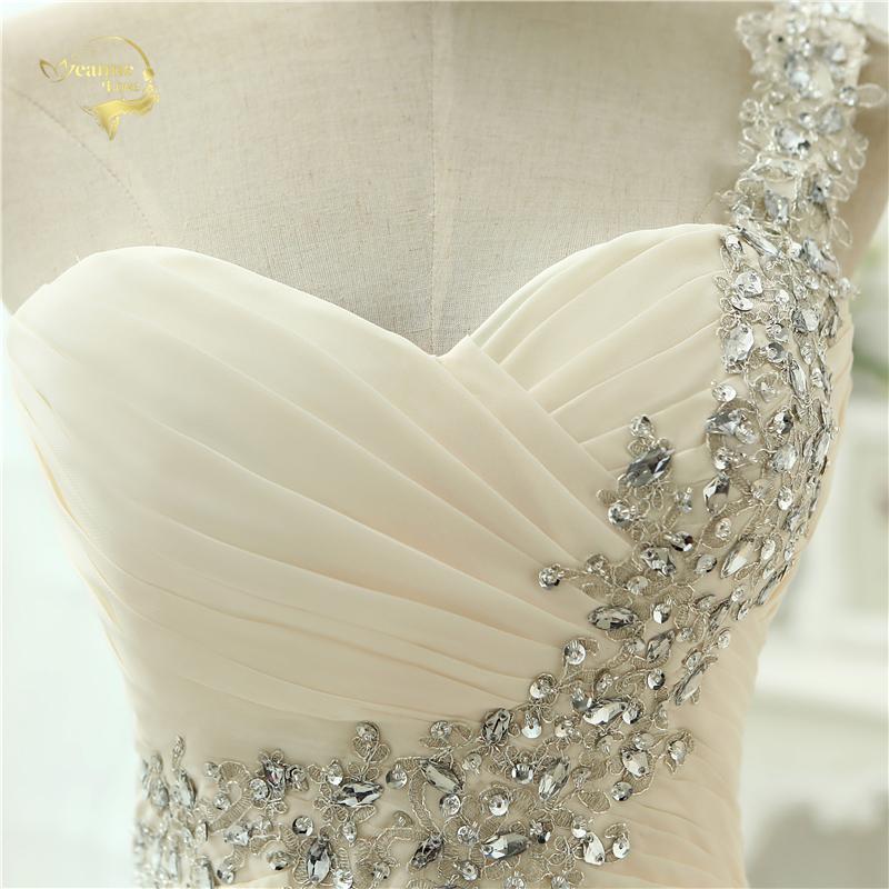 One Shoulder Chiffon Applique Long Bridesmaid Dress