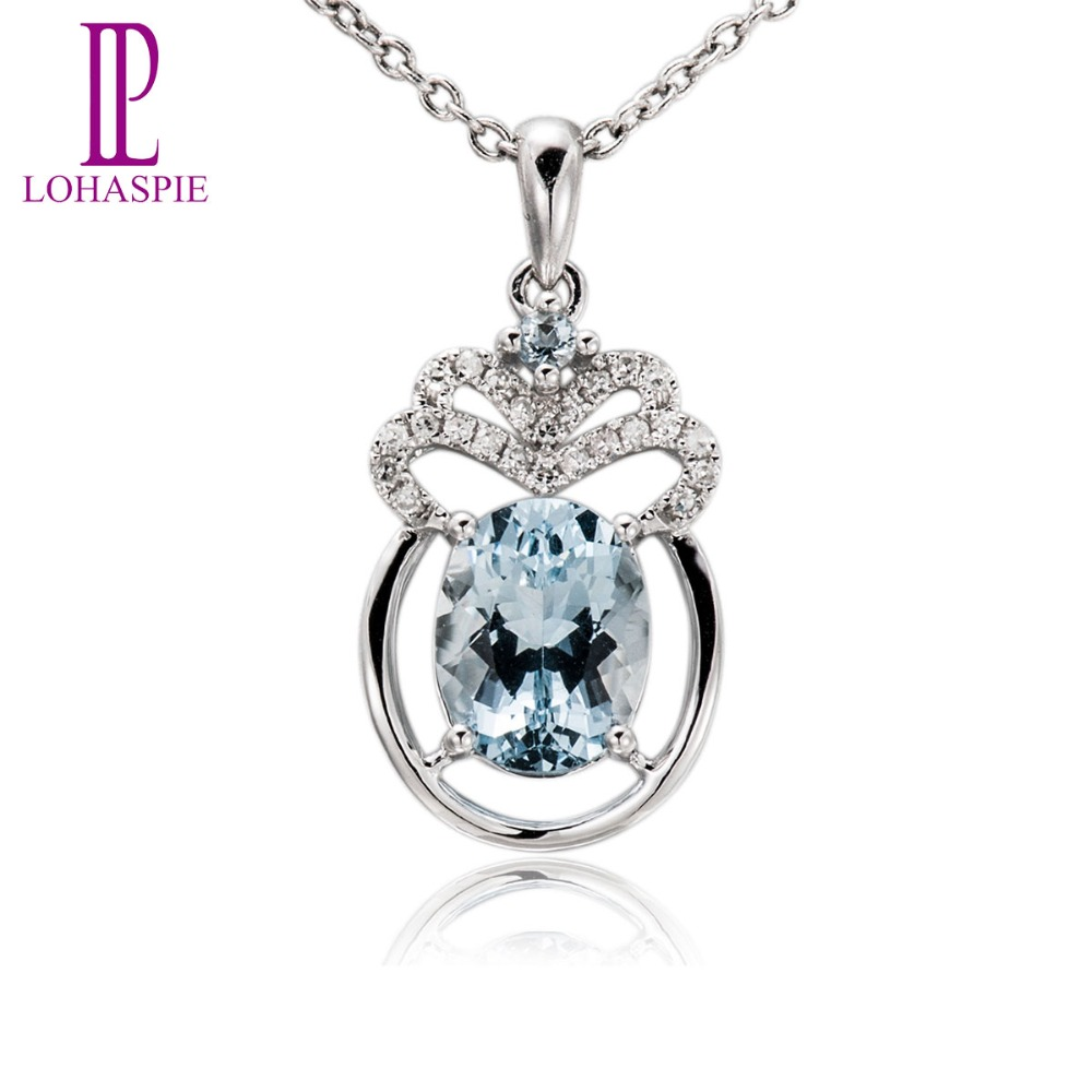 Lohaspie Diamond-Jewelry Gemstone Solid 18K 750 White Gold Natural 1.68ct Aquamarine Pendant Fine Stone Jewelry For Gift New