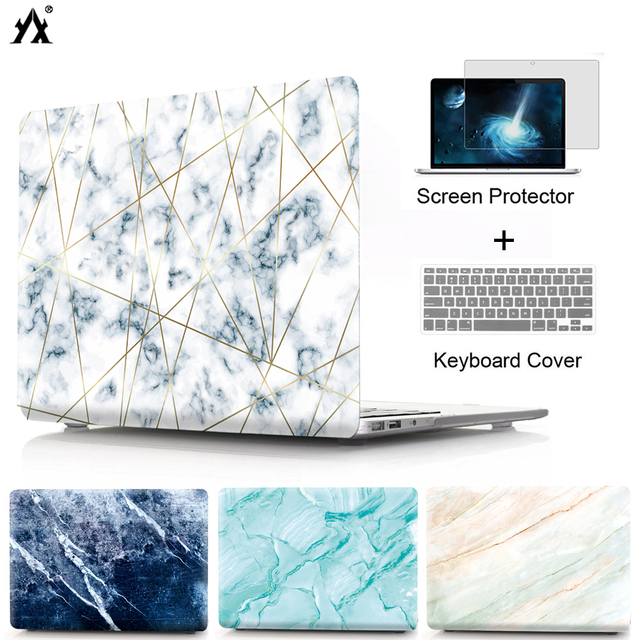 Marble Laptop Case For MacBook Air 13 11 Pro Retina 11 12 13 15 inch Touch Bar for macbook New Air 13 A1932 2018 +Keyboard Cover
