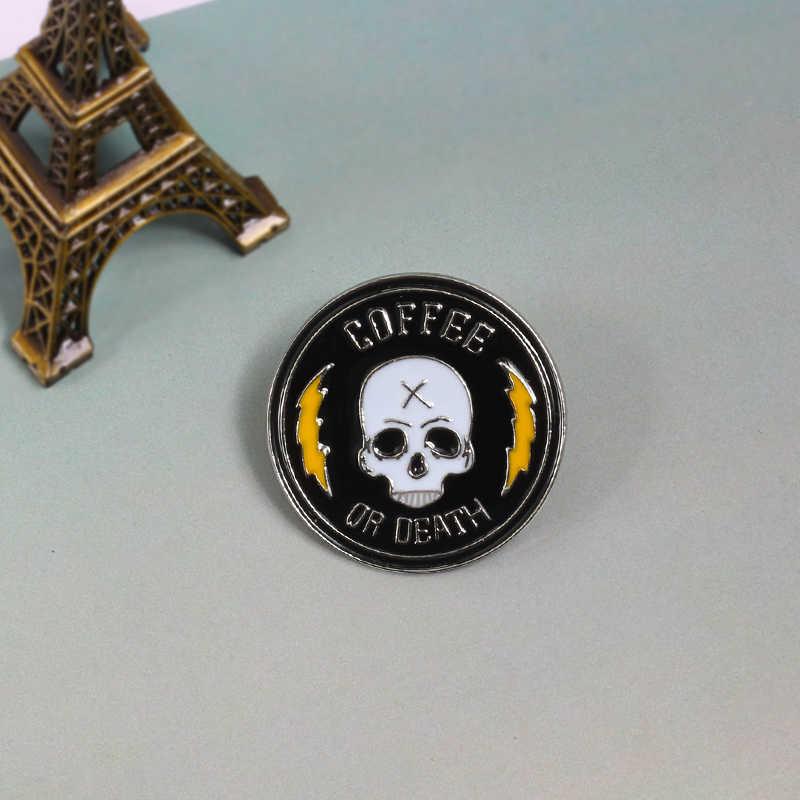 Keren Dark Punk Bros Lucu Cabai Pisau Tengkorak Kimia Piala Hammer Enamel Pin untuk Pria Lencana Tas Ikon Dekorasi perhiasan