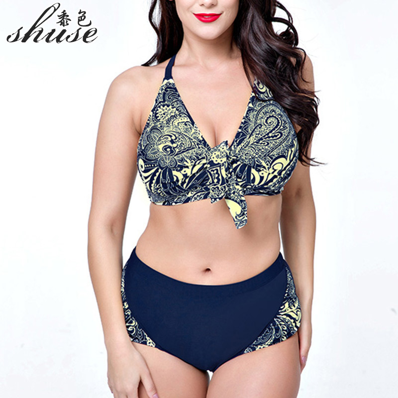 SHUSE 2017 Large Size Swimsuit Women V Neck Bikini Set Printed High Waist Swimming Suit Push Up Plus Size Swimwear Female