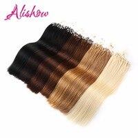 Alishow Düz Döngü Mikro Yüzük Saç 1 g/s 100 g/paket 100% İnsan Saç Düz Mikro Boncuk Linkler Remy Saç Uzantıları Mix Renkler