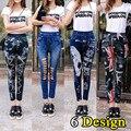Mulheres 2016 de Moda de Nova Impresso Fosco Seamless Punk Gótico Buraco Leggings Pants Stretch Rasgado Jeans Leggings Jeggings Para Mulheres