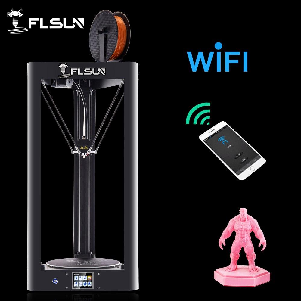 Flsun Kossel 3D impresora Flsun QQ Auto-Nivel de gran tamaño-Asamblea Delta 3D impresora HeatBed pantalla táctil wifi de currículum