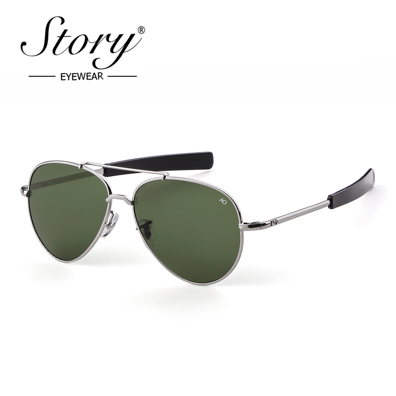 46ae9e19978 STORY 2019 Fashion Army AO Sunglasses Men Brand Designer American Optical  Glass Lenses Male Sun Glasses High Quality Mirror -in Sunglasses from  Apparel ...