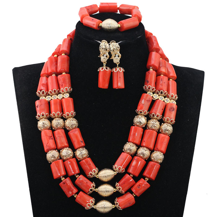 Traditional Coral Beads Jewelry Set African Beads Jewelry Set Wedding Beads Jewelry Sets Nigerian Necklace Jewelry CG002