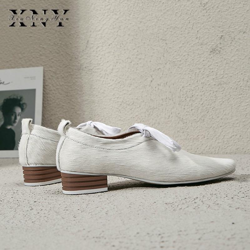 XIUNINGYAN más el tamaño de las mujeres de crin encaje up Flats Oxfords marca diseñador vestido cuadrado mujer zapatos cómodos zapatos mujer - 4