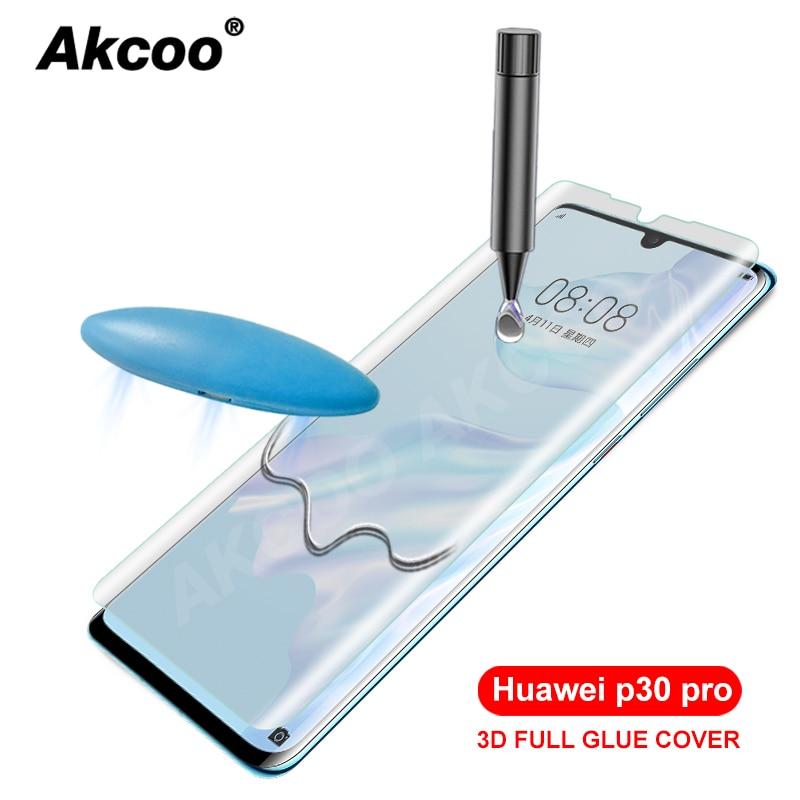 Akcoo P30 Pro verre trempé UV pleine colle pour Huawei P30 Pro protecteur d'écran P30 lite 10D film de verre UV avec revêtement oléophobe