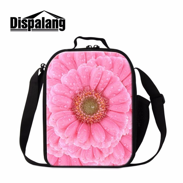 Dispalang popular pink floral pattern women thermal lunch cooler bag portable lunch box for adult work family picnic food bag