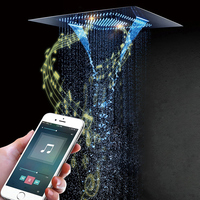 Music Showerhead Remote Or Phone Control LED Light Waterfall Shower Head Rainfall Misty Bathroom 60*80cm Shower 304SUS Polished