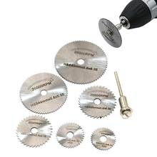 цена на 6pcs/set Mini HSS Circular Saw Blade Rotary Tool For Dremel Metal Cutter Power Tool Set Wood Cutting Discs Drill Mandrel Cutoff