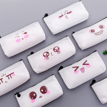 Emoticon Transparent Pencil Case for Girl Student Gift Kawaii Pencil Pen Storage Bag Creative Korean Stationery School Supplies
