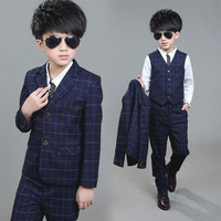 New Children Suit Baby Boys Suits Kids Blazer Boys Formal Suit For Weddings Boys Clothes Set Jackets+Vest+Pants 3pcs 4 12Y T17