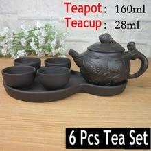 Hot Sale 6 Pcs Kung Fu Tea Set [1 Teapot+ Tray +4 Cups] Travel Chinese Porcelain Sets Ceramic Gongfu Gaiwan Yixing Clay Portable