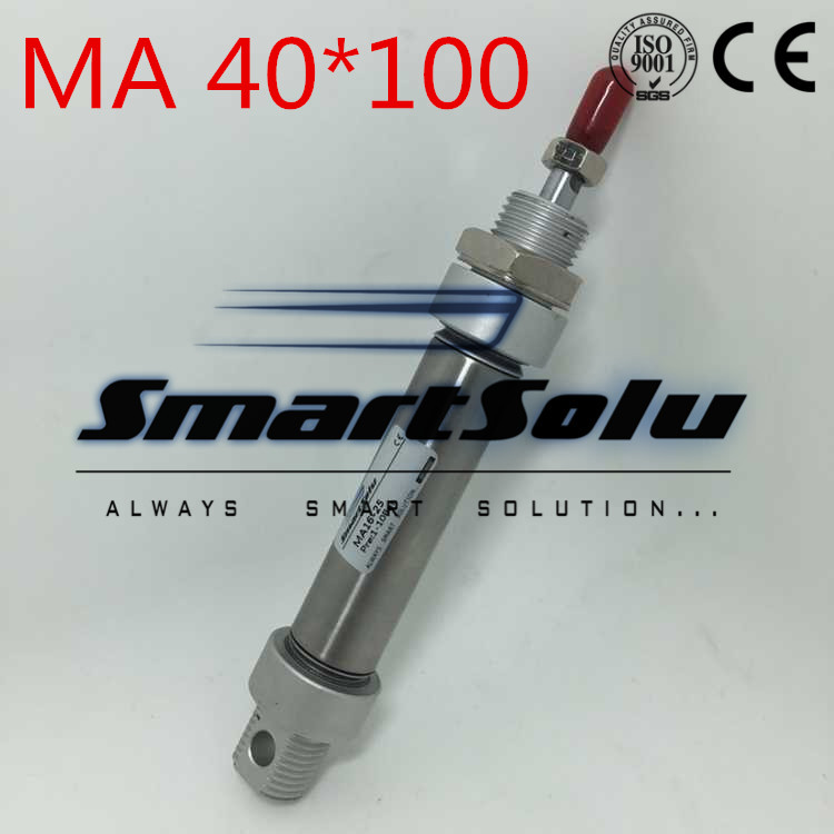 Free Shipping 40MM Bore 100MM Stroke 1/8 Port Pneumatic Stainless Steel Air Cylinder,MA40x100 MM ,Mini Cylinder With Magnetic 16mm bore 100mm stroke aluminum alloy pneumatic mini air cylinder mal16x100 free shipping