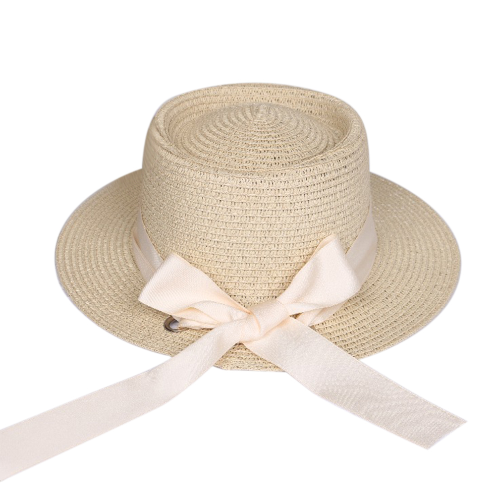 Summer Straw Hat Women Wide Brim Sun Protection Beach Hat 2019 Bowknot Ribbon  Adjustable Rope Sunscreen Hats Cap(China)